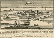 2239 Gezicht op de stad Axel, met op de achtergrond de Westerschelde, en op de voorgrond vissers (man en vrouw), en ...