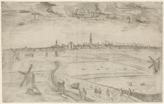 224 Gezicht op de stad Middelburg, vanuit het zuiden, vanaf de Vlissingseweg, met personen op de voorgrond o.a. met een ...