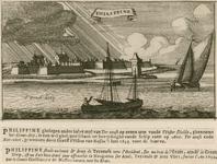2244 Gezicht op de schans Philippine, vanaf het groot Diep, op de voorgrond een boot, met een persoon navigerend met ...
