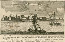 2285 Gezicht op de vesting Terneuzen, vanaf de Westerschelde, met op de voorgrond vissersboten, en onder beschrijving ...