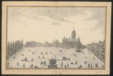 229 Gezicht op de Grote Markt te Middelburg, met gevels, stadhuis, fragmenten uit het dagelijks leven, een spel, een ...