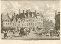 230 Gezicht op de Grote Markt te Middelburg met gevels van het huis de Gouden stoel (Lootsman) tot het huis de Rode ...