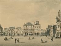 231 Gezicht op een deel van de Grote Markt te Middelburg met de gevels tussen Pottenmarkt en Vlasmarkt met de sociëteit ...