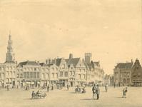 233 Gezicht op een deel van de Grote Markt te Middelburg met de gevels, gezien naar de Lange Delft en personen op de ...