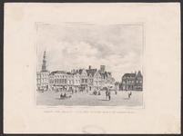 234 Gezicht op een deel van de Grote Markt te Middelburg met de gevels, gezien naar de Lange Delft en personen op de ...