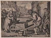 238 Gezicht van de Korte Burg te Middelburg op de poort in de Abdij, de Heerenbeurs en de Balans, met op de voorgrond ...