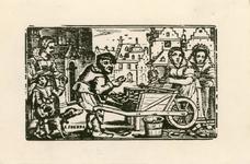 239 Gezicht van de Korte Burg te Middelburg op de poort in de Abdij, de Heerenbeurs en de Balans, met op de voorgrond ...