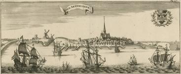 26 Gezicht op de oude stad Arnemuiden (fantasie), met schepen en wapen van Arnemuiden