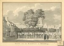 270 Gezicht op de graanbeurs aan de Dam te Middelburg met wisselbank en Engels koffiehuis