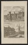 285 Twee gezichten op de Graanbeurs en Abdijtoren te Middelburg, aan beide zijden van de haven, op 1 plaat