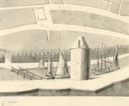 321 Gezicht op de Duivelstoren (in gebruik bij de schutterij, afgebroken 1596-1597) en de oude Bellinkbrug te ...
