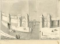 323 Gezicht op de Noorddampoort en Zuiddampoort te Middelburg, afgebroken in respectievelijk 1578 en 1588, met ...