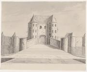 328 Gezicht op de oude Vlissingse poort te Middelburg, afgebroken in 1596, aan de noordzijde van de Vlissingse ...
