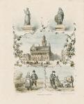 402 Het stadhuis te Middelburg met boven vignetten van de standbeelden van Jacob Cats (Brouwershaven) en M.A. de ...