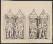 408a De beelden met baldakijn (10-13) van de graven van Holland en Zeeland Dirk (2x) en Floris (2x) aan de voorgevel ...