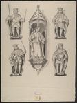 408d De beelden (30-35) van de graven en gravinnen van Holland en Zeeland Karel (2x) en Maximilliaen, Maria (met ...