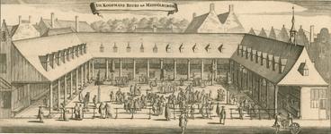 434 Gezicht op de met handelaars bevolkte koopmansbeurs aan de Balans te Middelburg, later boterbeurs, met op de ...