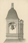 435 De klokkentoren van de koopmansbeurs, later boterbeurs aan de Balans te Middelburg, bekroond met de burcht van ...