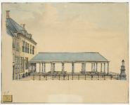 438b Zijaanzicht van de Graanbeurs met belendende gevels aan de Dam te Middelburg vóór de verbouwing