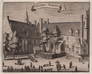 450 Gezicht op de Abdij te Middelburg aan de Groenmarkt met het geschut- en klokkengiethuis (voorheen refectorium) en ...