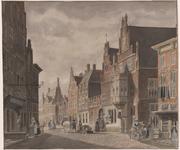 463 Gezicht op het West-Indisch huis en aangrenzende gevels aan de Lange Delft te Middelburg