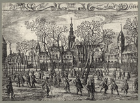 489-1 Gezicht op het Abdijplein te Middelburg, met personen, linksboven putto met trompet