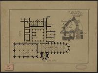 492 Plattegrond van het zuidelijk deel van de Abdijgebouwen te Middelburg, met een situatieplan van de Abdij 1106-1492