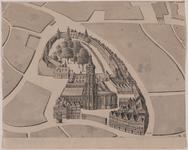 493 Gezicht op de Abdij te Middelburg in vogelperspectief, met op de voorgrond een waterput