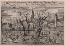 494 Gezicht op het Abdijplein te Middelburg, vanuit het noorden, met kinderspelen, onder andere hoepel, vlieger en stelten