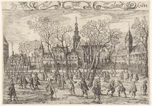496 Gezicht op het Abdijplein te Middelburg, met personen, linksboven putto met trompet