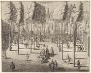 497 Gezicht op het Abdijplein te Middelburg, met personen