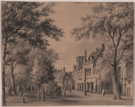 502 Gezicht op het zuidelijk deel van het Abdijplein te Middelburg, met voorbijgangers