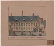 511 Gezicht op het huis van de Commissaris des Konings aan het Abdijplein te Middelburg, met voorbijgangers.(naïeve tekening)