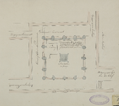 524 Plattegrond van de ligging van het voormalige Muntplein in de Abdij te Middelburg, met aanwijzing van de uitgangen