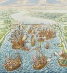 535-3 De afbreuk van de Zeeuwen aan de verdedigingswerken van de Spanjaarden, aangebracht tijdens de belegering van ...