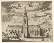 546 Gezicht op de Nieuwe Kerk, Abdijtoren en Koorkerk te Middelburg, met aangrenzende panden en voorbijgangers