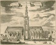 547 Gezicht op de Nieuwe Kerk, Abdijtoren en Koorkerk te Middelburg, met aangrenzende panden en voorbijgangers