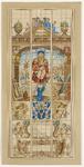 598 Het glasraam van het Sint Joseph- of timmermansgilde, met Sint Joseph, omringd door timmerlieden, gereedschap, een ...