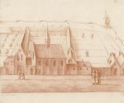 651 Gezicht op het Augustijnenklooster en kerk aan de Gravenstraat te Middelburg, afgestaan aan de schutterij van Sint ...