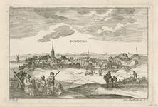 70 Gezicht op het dorp Domburg vanuit het noordwesten, met een moeder met kinderen en herders met een kudde schapen op ...