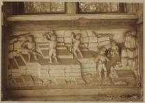 722b Details (beeldhouwwerk) met steenhouwers van de gevel van het huis In den Steenrotse te Middelburg aan de ...