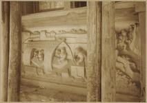 722f Details (beeldhouwwerk) met steenhouwers van de gevel van het huis In den Steenrotse te Middelburg aan de ...