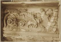 722h Details (beeldhouwwerk) met paard en wagen van de gevel van het huis In den Steenrotse te Middelburg aan de ...
