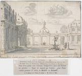 747 Ontwerp voor een gobelin behangsel van een binnenplein van een paleis met fontein voor een huis te Middelburg, in ...