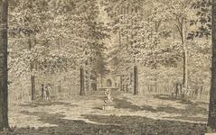762d Gezicht op het mastbos bij het huis Arnestein te Middelburg, met personen