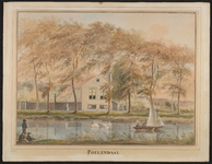 768 Gezicht op de Vlissingsesingel te Middelburg met het huis Poelendaele, een zeilbootje en linksonder vissers