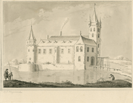 769 Gezicht op het huis Oud Hogerzaal, buiten de Seispoort te Middelburg, met op de voorgrond vissers