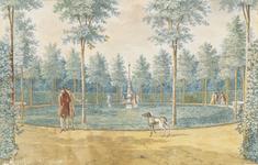 771b Gezicht op een binnenplein in de tuin van het huis Poppenroedeambacht aan de Seisweg te Middelburg, met wandelaars