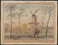 792 Gezicht op de molen De Hoop op het Vlissings bolwerk te Middelburg, met Langevielepoort en Langevielebuitenbrug en ...