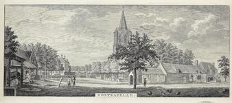 809 Gezicht in het dorp Oostkapelle, met kerktoren, huis Oostkapelle, travalje, en schildwachthuisje